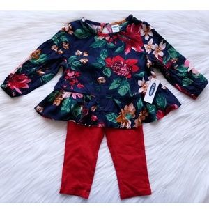 NWT Old Navy Floral Outfit Set Size 12-18 Months
